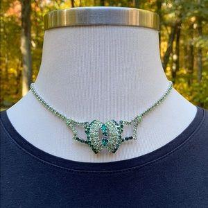 "Vintage Emerald Lime Green Rhinestone Necklace 15"""